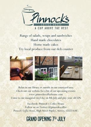 Pinnocks Coffee House Flyer