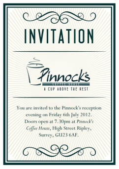 Pinnocks Coffee House Invite